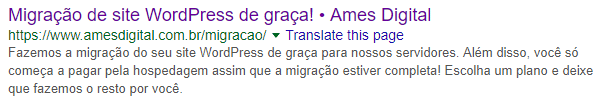Esta meta description usa voz ativa